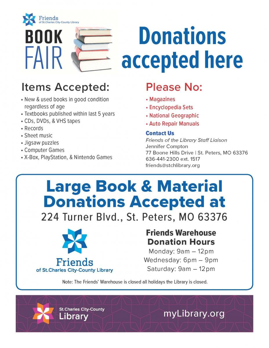BOOK & MATERIAL DONATION GUIDELINES | St  Charles Library